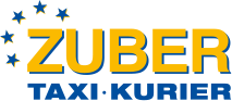 Taxi Zuber Logo am Tag